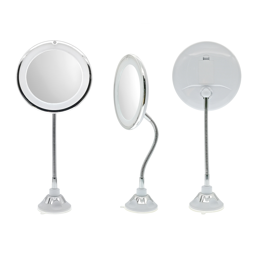 360 rotation suction LED makeup mirror 10X Magnification Ultra flexible mirror