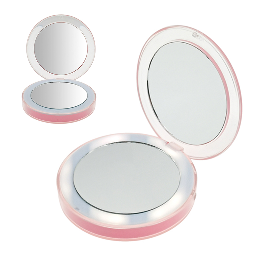 Compact hand mirror cosmetic made round shape crystal folding pocket mirror ABS make up mirror