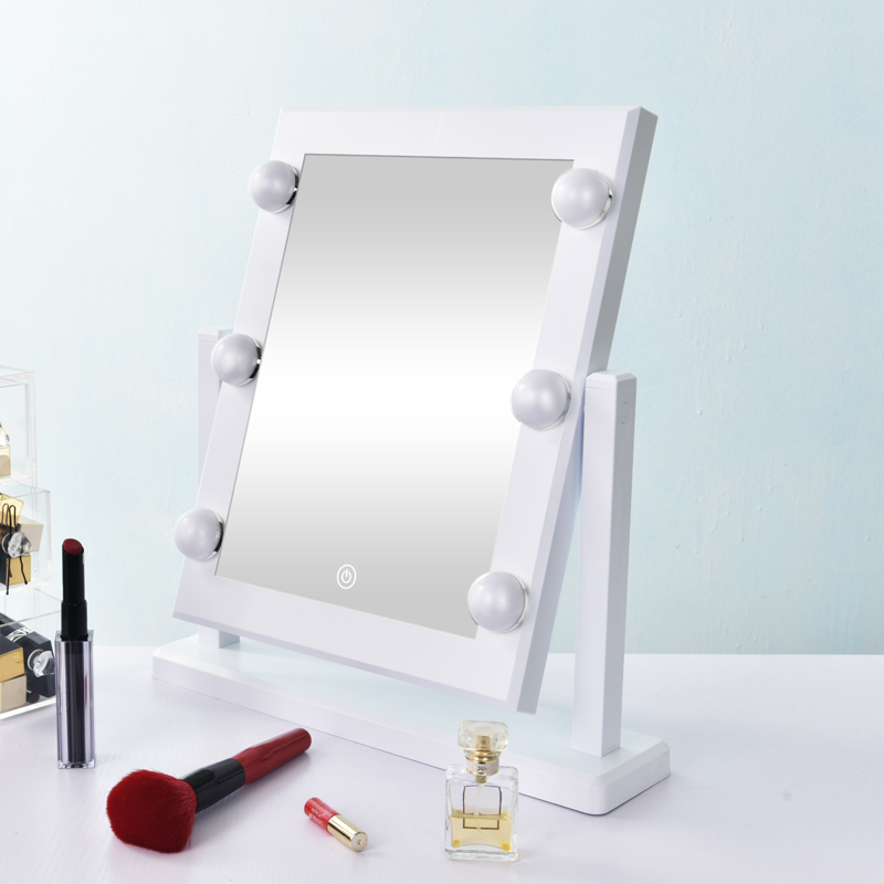 Lighted Vanity Makeup Mirror Dimmable Tabletop Cosmetic Mirror with 6 LED Bulbs Touch Control