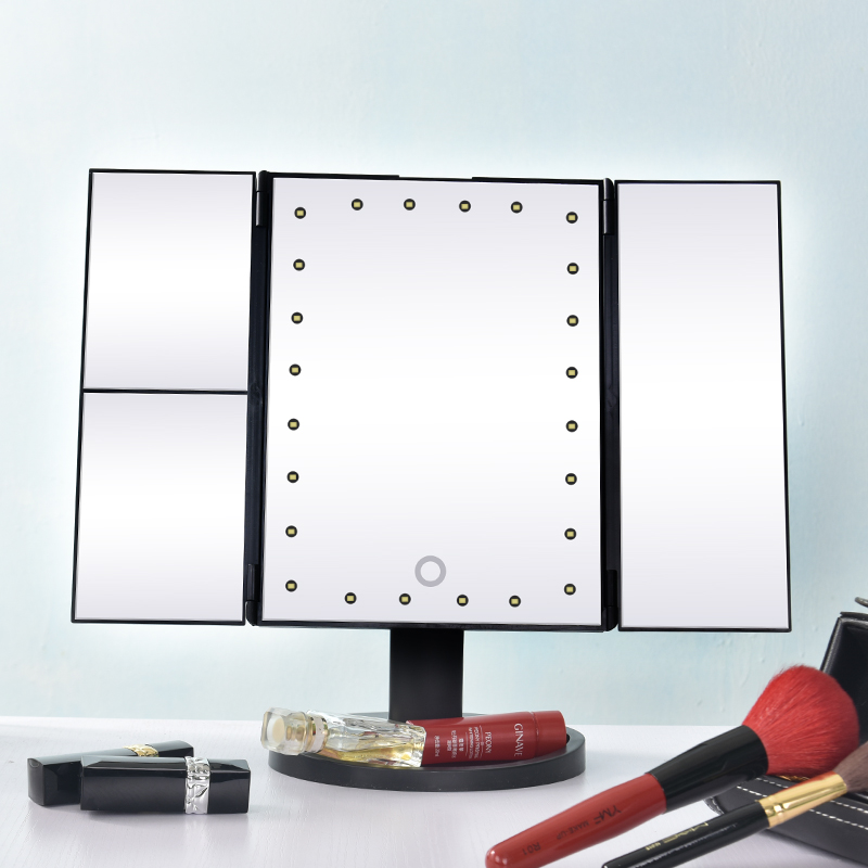 Tri-FoldLighted Vanity Makeup Mirror with 3X/2X/1X Magnification 24 LED Lights and Touch Screen Dimmable Makeup Mirror