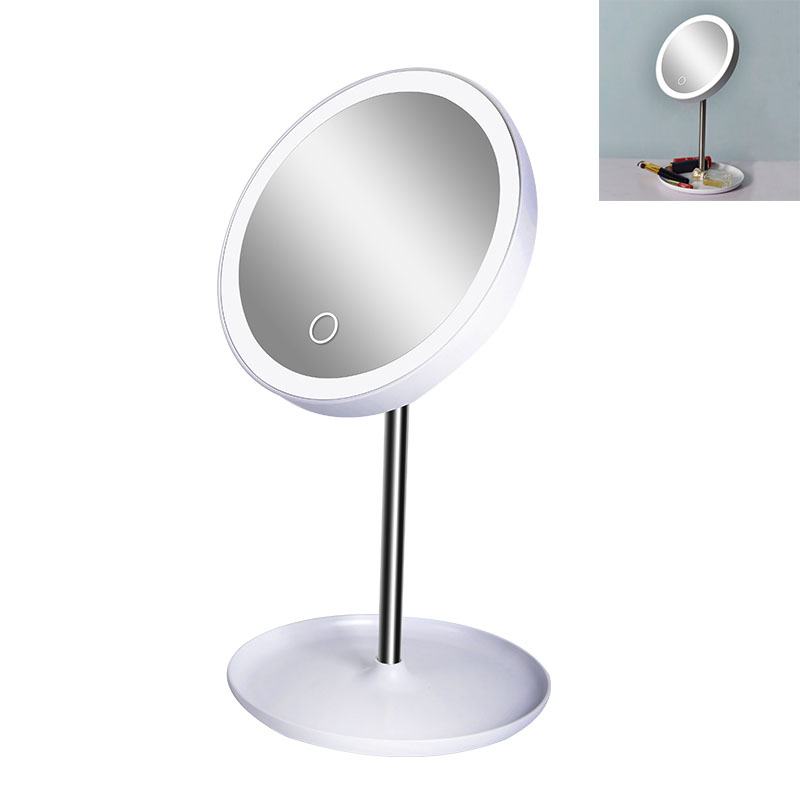 High quality new style 5X magnifier touch led round table makeup mirror with lights