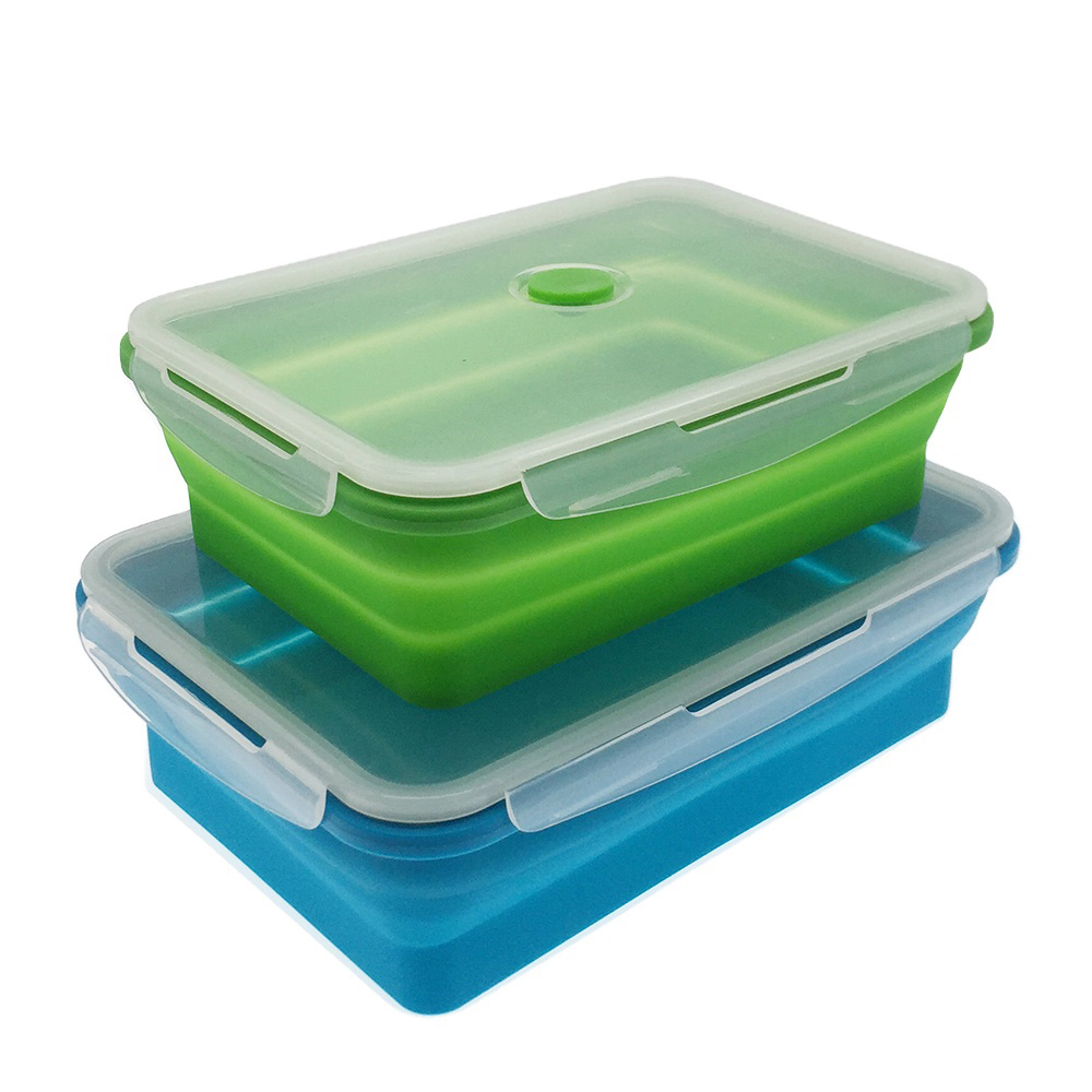 Microwavable Silicone Collapsible Food Meal Prep Lunchbox Containers Foldable Tiffin Bento Silicone Storage Bins Lunch Boxes Set