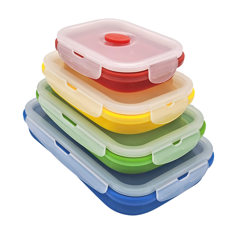 customized takeaway collapsible foldable plastic silicone food storage container lunch bento box supplier