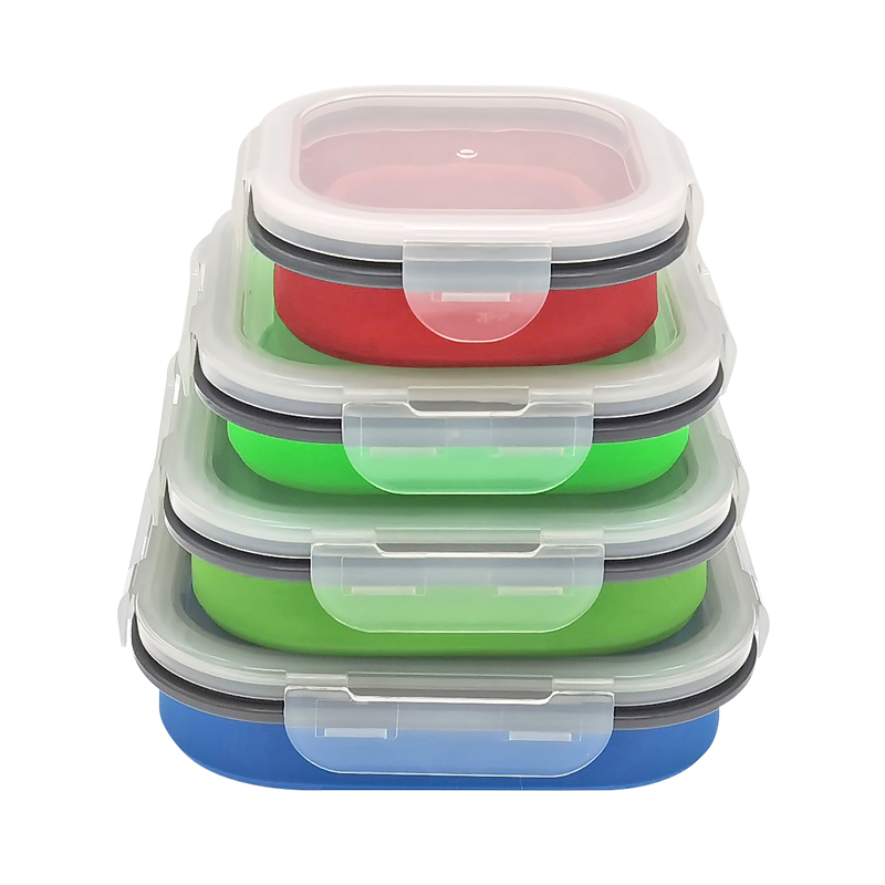 Bento Reusable Food Storage Containers Folding Kids Collapsible Silicone Lunch Boxes